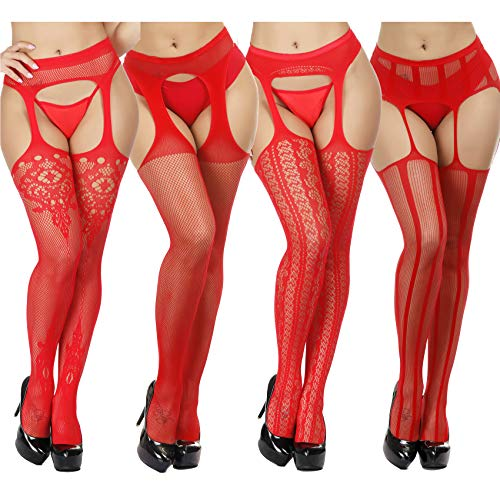 TGD Fishnet Stockings Tights Sexy Suspender Pantyhose for Women Thigh High Stocking Colors 4 Pairs (Red 0357)