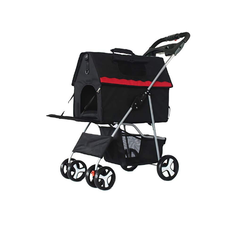 Black Waterproof Folding Cart for Pets Dogs Cats Small Animals Red color 4 Wheels Swiveling,Black