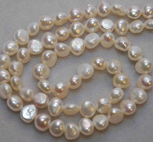 Corn Pearl, Baroque Pearl, Nugget Pearl, Freshwater Pearl, 7mm, Ivory White, 16'' full strand 56 pieces #CB6053