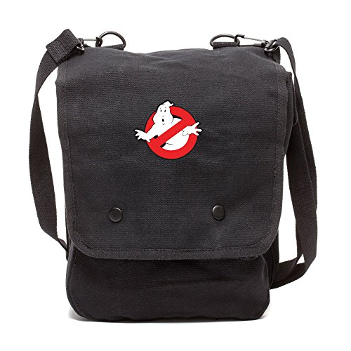 Grab A Smile Ghostbusters Logo Canvas Crossbody Travel Map Bag Case in Black -