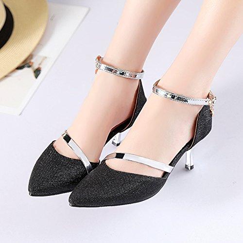 Neuf Black Summer Hauts Pointu Les GTVERNH 6 Les Mariée Mince Cm Hollow Chaussures Boucles De Talons Sandales Trente axxwTFHqU