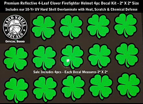 - High Performance Vinyl Graphics LLC Reflective Green 4 Leaf Clover Firefighter Helmet Decal Kit 4pcs 2