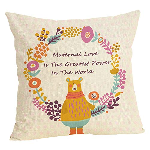 (Doliving Mothers' Day Throw Pillow Case Cushion Cover for Sofa Couch Living Room 18 x 18 Inch Cotton Linen Spring Farmhouse Home Decoration (Maternal Love is The Greatest Power in The World))