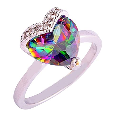 Empsoul 925 Sterling Silver Natural Gorgeous Filled Rainbow Topaz Heart Shaped Engagement Bridal (Garnet Rings Clearance)