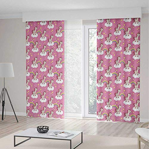 Nursery Room Decor Curtains,Cute Unicorns Standing on Clouds with Rainbows and Stars on a Pink Skyline,Window Drapes 2 Panel Set for Living Room Bedroom,142 W 106 L,Pink Yellow White -