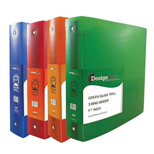 JAM Paper Designders - Assorted 1 1/2 Inch Width Plastic 3 Ring Binders - Red, Green, Blue & Orange - 4/pack