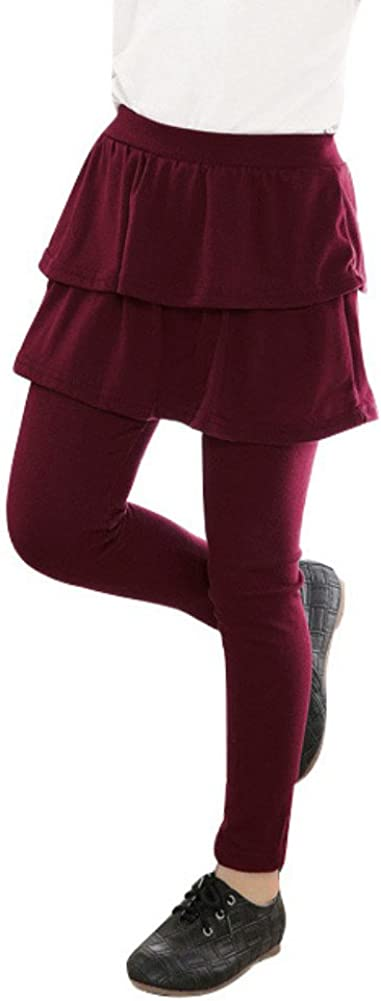Soly Tech Kids Girls Double Layer Ruffle Skirts Leggings Pants Stretchy Culotte Trousers