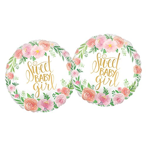 (Set of 2 Sweet Baby Girl Baby Shower Pink Floral Balloons)