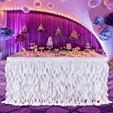 Haperlare Tulle Table Skirt Queen Snowflake