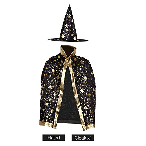 Children Costumes Stars Style for Halloween and Christmas Sorcerer/Witch Costume with Hat and Cloak (Black) (Wizard Boy Costume)