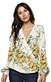 Love Stitch Women's Long Sleeve Floral Surplice Wrap Blouse (Small, Apple)