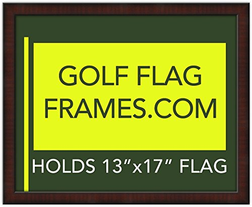 16x20 Mahogany Golf Flag Frame, Moulding brn-002, Green Mat (holds 13x17 Masters Golf Flags; flag not incl) (Frame Golf)