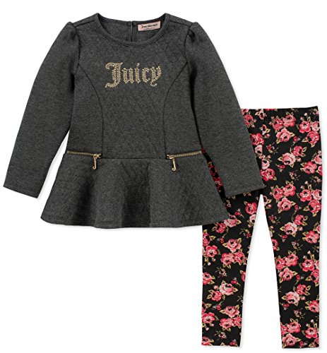 - Juicy Couture Girls' Little 2 Pieces Tunic Legging Set, Dark Gray/Print, 6