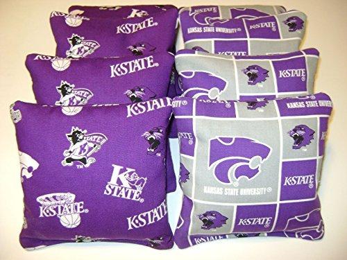 - 8 Cornhole Kansas State Wildcats Bean Bag Corn Hole Baggo K-state Tailgate Toss