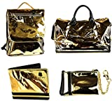 4 Pcs Luxury Duffle Bag Backpack Coin Purse Wallet Set Snake Grain Vegan Leather / Patent (Gold Patent)