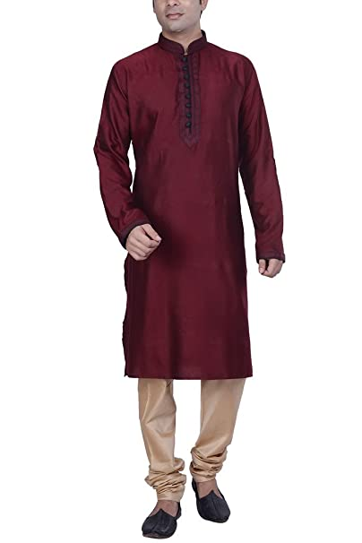 Kisah Men's Jaquard Cotton Silk Kurta & Churidar Set Men's Kurta Sets at amazon