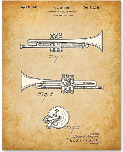 Trumpet - 11x14 Unframed Patent Print - Makes a Great Gift Under $15 for Trumpet Players and Musicians