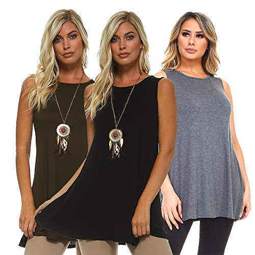 Isaac Liev 3 Pack Women's Sleeveless Tunic – Round Neck Swing Flowy Long Tank Tops (Small, Olive, Charcoal & Black)