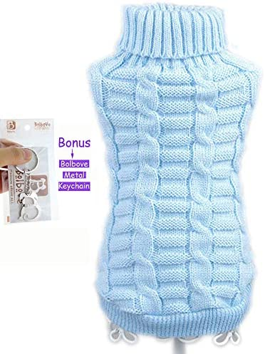 Bolbove Bro'Bear Cable Knit Turtleneck Sweater for Small Dogs & Cats Knitwear 25