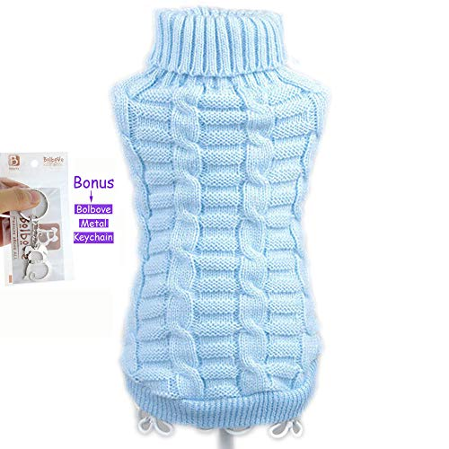 Bolbove Bro'Bear Cable Knit Turtleneck Sweater for Small Dogs & Cats Knitwear (Blue, Medium)