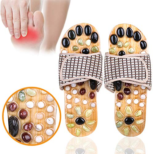 Acupressure Massage Slippers with Natural Stone, Therapeutic Reflexology Sandals for Foot Acupoint Massage Shiatsu Arch Pain Relief, Fit 6 Men / 7 Women Feet Size ()