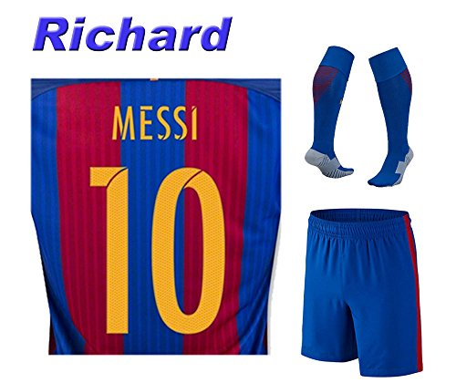 2016 Barcelona Home Messi #10 Adult 2016/2017 Soccer Jersey with Free Short And socks of full Set (Small)