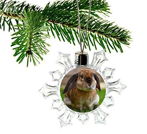 Lop Eared Bunny Rabbit Snowflake Christmas Tree Ornament