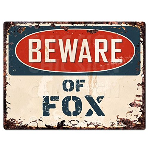 Beware of FOX Chic Sign Vintage Retro Rustic 9