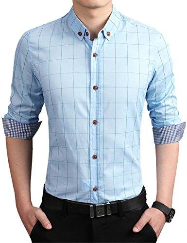 KIMIST-Mens-Formal-Business-Plaid-Slim-Fit-Long-Sleeve-Dress-Shirts