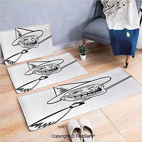 FashSam 3 Piece Non Slip Flannel Door Mat Halloween Spirit Themed Witch Guy Meme LOL Joy Spooky Avatar Artful Image Indoor Carpet for Bath Kitchen(W15.7xL23.6 by W19.6xL31.5 by W19.6xL59) -