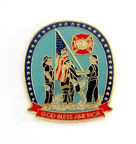 Department Lapel Pin - Fire Fighter Department God Bless America Lapel Hat Pin PPM720