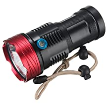 WindFire® New 9x Cree T6 XM-L U2 L2 Led 11000 Lumens Waterproof Flashlight 3 Modes Camping Spotlight 18650 Rechargeable Battery Torch Spot Flash Hunting Light Lamp with Hang Strap for Outdoor Sports and Indoor Activities (No Battery included)