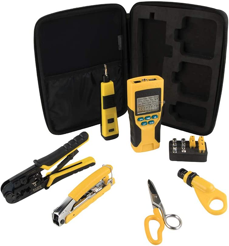 Klein Tools VDV001819 VDV Tool Set has Crimpers, Scout Pro 2 Cable Tester, Snips, Punchdown Tool, Carry Case, Apprentice Tool Set, 6-Piece