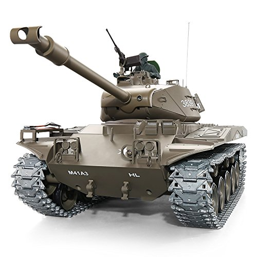 Heng Long Pro Edition Remote Control 2.4Ghz 1/16 Scale US Army M41 Walker Bulldog RC Light Tank That Shoot Airsoft BBS, RC Main Battle Tank with Metal Gear and Tracks, Pro Edition