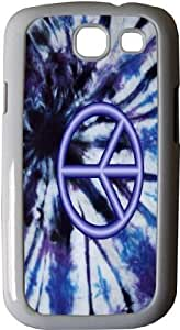 Rikki KnightTM Peace Logo on Blue Tie Die Design - White Hard Rubber TPU Case Cover for Samsung? Galaxy i9300 Galaxy S3 by lolosakes by lolosakes