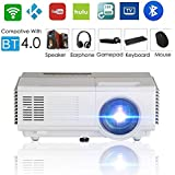Portable Mini Projector Wireless Wifi, Home Cinema theater 1500 Lumens Support Full HD 1080p 720p, Ceiling Mounted Home Projector for Indoor Outdoor Movie Game Party Gift, Bluetooth Video Projector