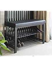 Finnhomy Entryway Shoe Rack with Cushioned Seat 2 Shelves Storage Bench w/Faux Leather Top Bed Bench Black