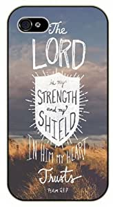 The Lord is my strenght and my shield, in my heart trusts - Bible verse iPhone 4 / 4s black plastic case / Christian Verses