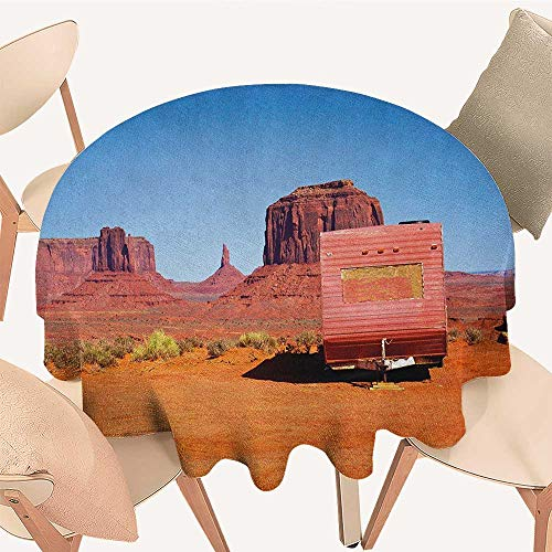 longbuyer Primitive Country Tassel Tablecloth Abandoned Caravan Design Monument Valley Arizona Desert Country Round Tablecloth D 36