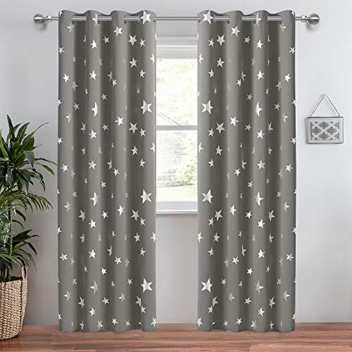 Anjee wärmeisolierender verdunkelungsvorhang für Schlafzimmer Sterne Gardinen mit Ösen Vorhänge Blickdicht für Wohnzimmer 2 Stücke,132 x 183 cm(HöhexBreite),Grau