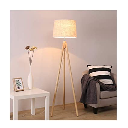 Floor lamp Lámpara de pie de Madera con estantes (con ...