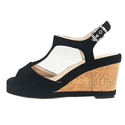 95fcd9a5687 MERUMOTE Women s Middle Wedge Heels Platform Summer Shoes with Buckle 329-Black  5.5 US