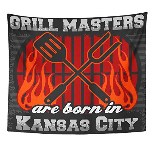 Semtomn Tapestry Artwork Wall Hanging Barbecue Grill Masters are in Kansas City BBQ King 60x80 Inches Home Decor Tapestries Mattress Tablecloth Curtain Print