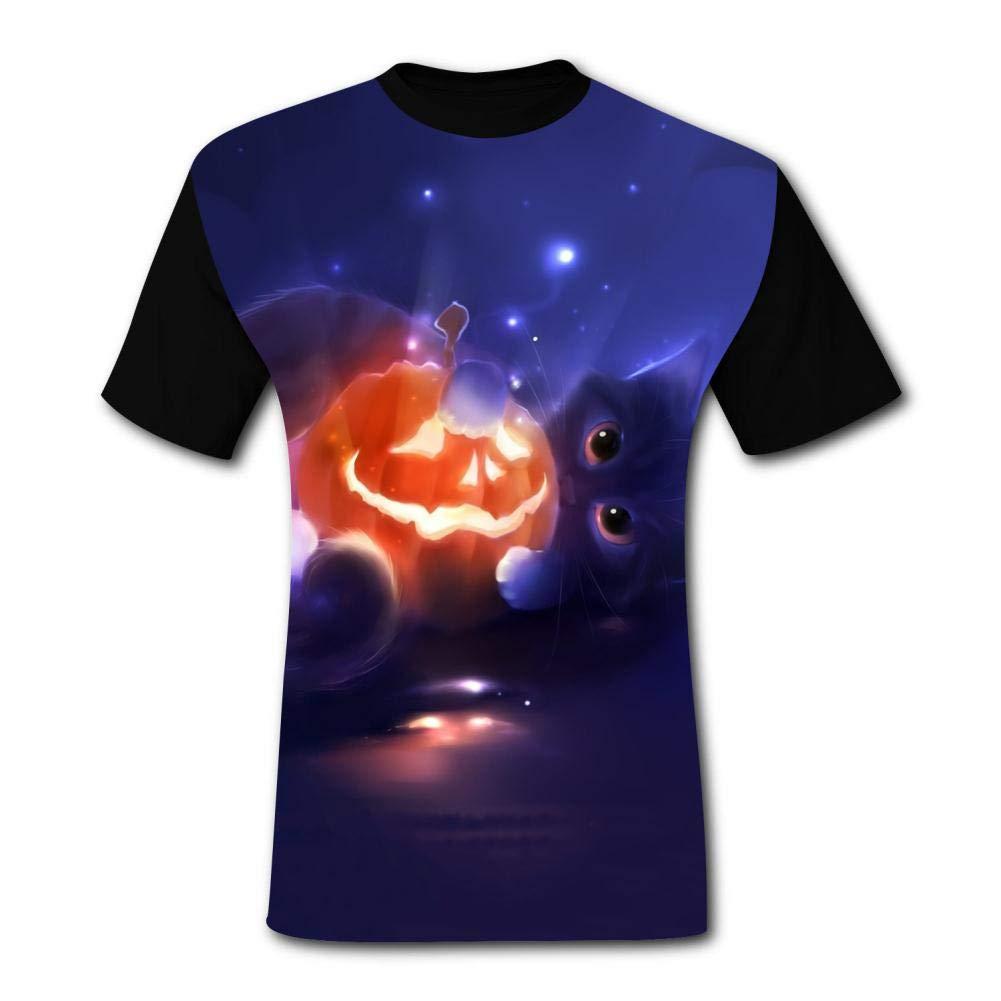 Mens Cute Kitten Holding a Happy Jack-O-Lantern Comfortable Adult T-Shirt Short Sleeve Tees Funny Creative