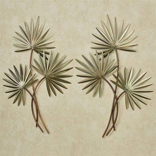 Copper Art Inc. Fan Palm Wall Sculptures Green Set of Two