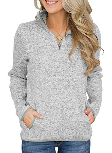 (Acelitt Plus Size Sweatshirts Women Long Sleeve Fall Winter Zip Pullover Shirts Tops Grey XXL)