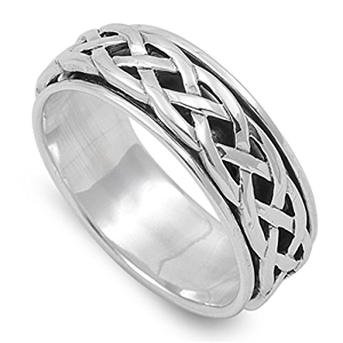 Prime Jewelry Collection Sterling Silver Women's Celtic Knot Spinner Ring (Sizes 4-14) (Ring Size 5)