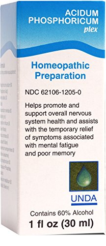 UNDA - Acidum Phosphoricum Plex - Homeopathic Remedy to Help Relieve Symptoms Associated With Mental Fatigue† - 1 fl oz (30 ml)