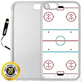 Custom iPhone 6/6S Case (Ice Hockey Rink) Edge-to-Edge Rubber White Cover with Shock and Scratch Protection | Lightweight, Ultra-Slim | Includes Stylus Pen by INNOSUB