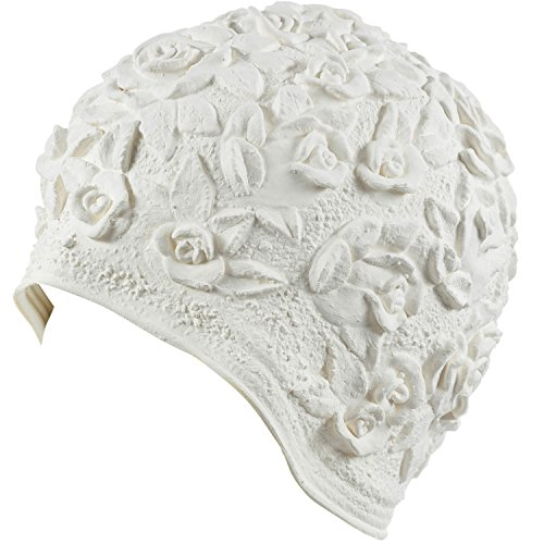 Latex with Embossed Flower Pattern Ornament Swim Bathing Cap - White
